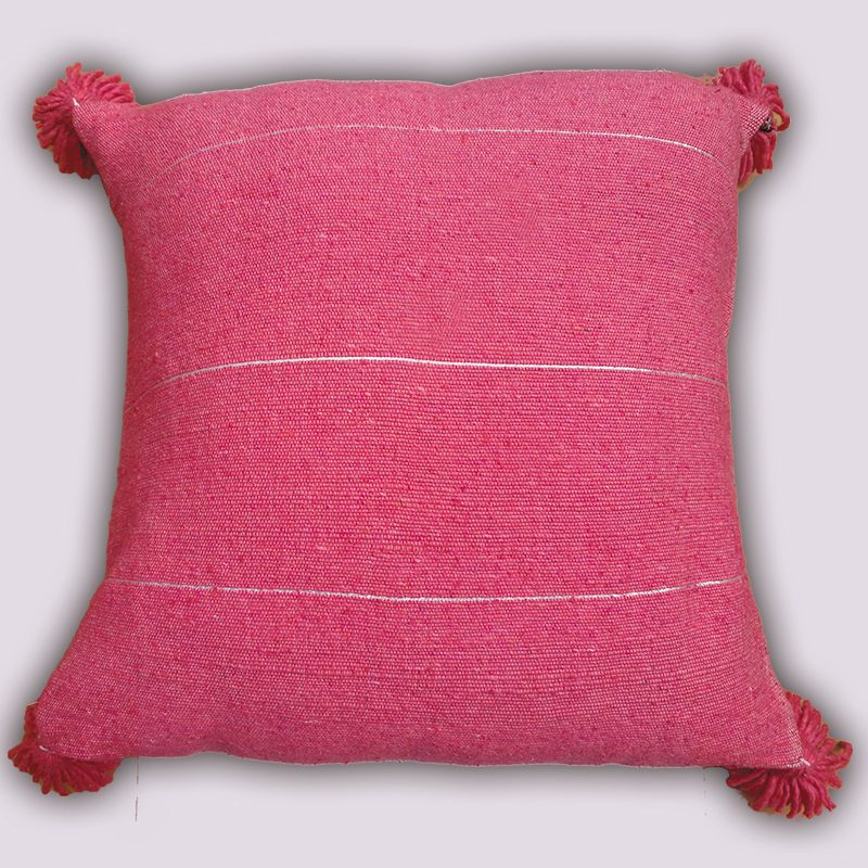 Pink Pom Pom Cushion with Metallic Stripes at craftic.net