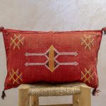 Red Lumbar Cactus Pillow Cover, Moroccan Throw Decorative Pillow 13×20 Inch